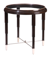 Bossa Nova Lamp Table shown with:Bombay finishPolished Nickel finish on stretchers and ferrulesInset clear glass top with beveled edge