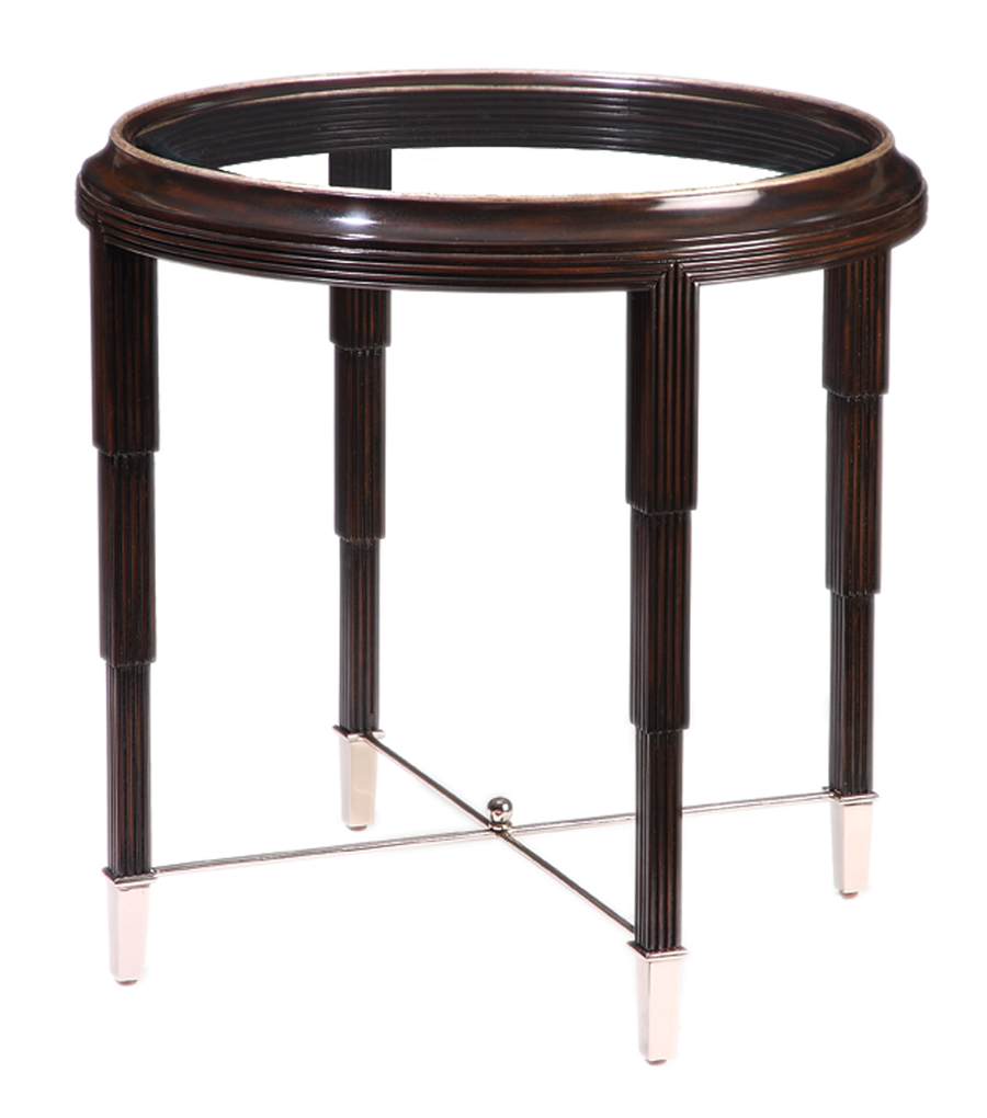 Bossa Nova LampTable shown with:VersaillesfinishPolished Nickel finish on stretchers and ferrulesInset clear glasstop with beveled edge