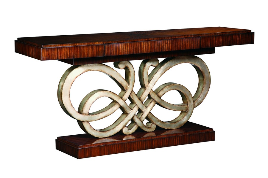 Bossa Nova Console shown with:Contemporary Havana finishDecorative metalwork in Versailles finish