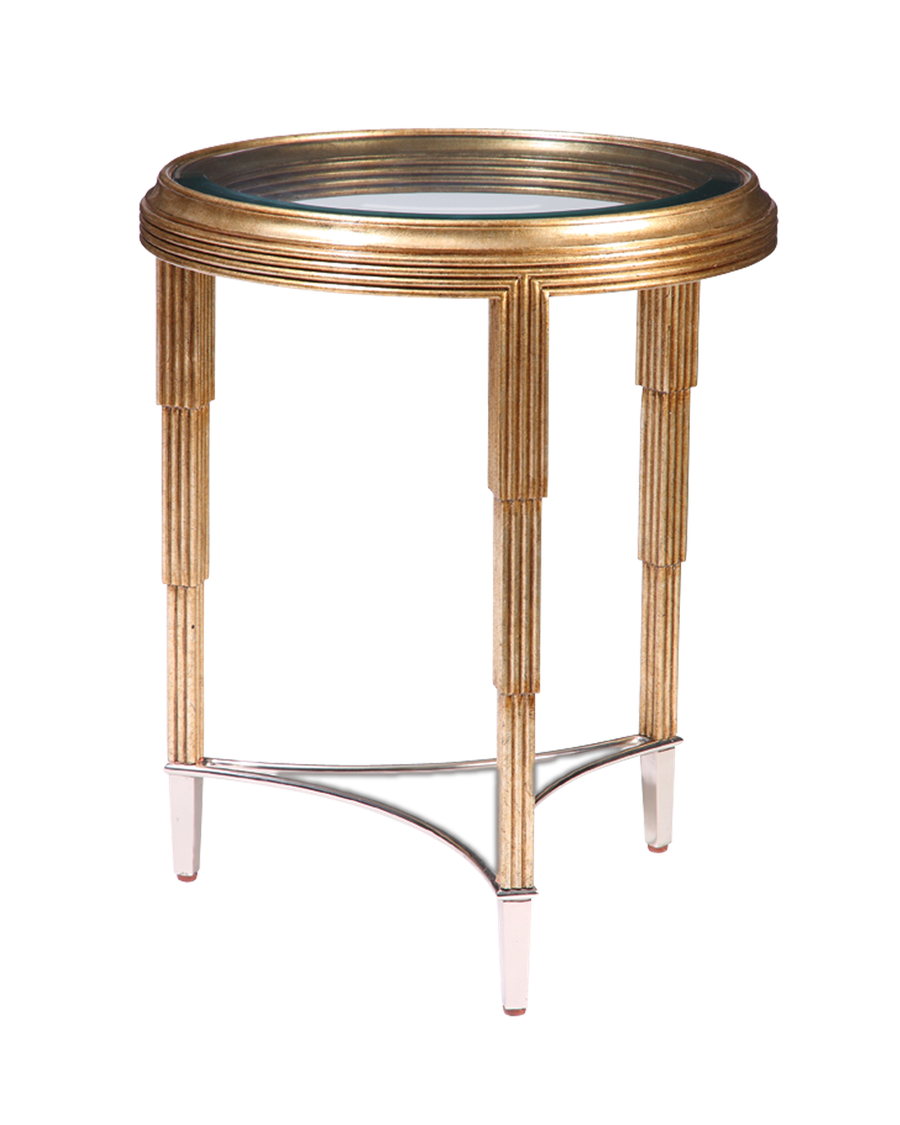 Bossa Nova Chairside Table shown with:Versailles finishPolished Nickel finish on metal stretcher and ferrulesInset clear glass top with beveled edge