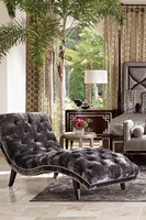 Lexi Chaise shown with:Button tufted seat and backBombay finishSilver nailhead frame trim