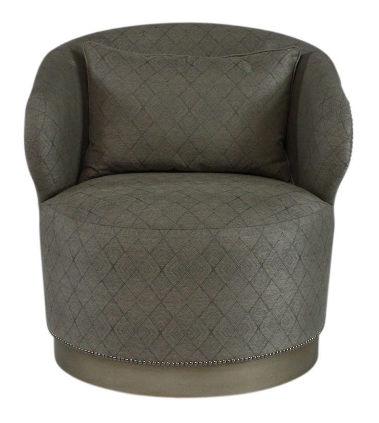 Brooke Chair shown with:Tight seatPlinth Base with Cashmere Silver finishPewter nailhead frame trim