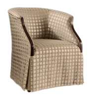 Brooklyn Game Chair shown with:Tight seat and backWaterfall skirt with button detailContemporary Havana finishSilver nailhead frame trim