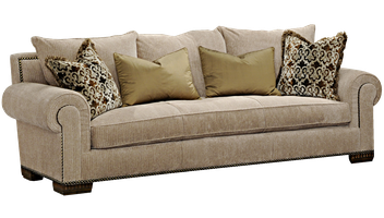 BentleySofa shown with: Boxed bench seatBuilt-to-the-floor baseOld World Briar finish on legsAntique Brass nailhead frame trim