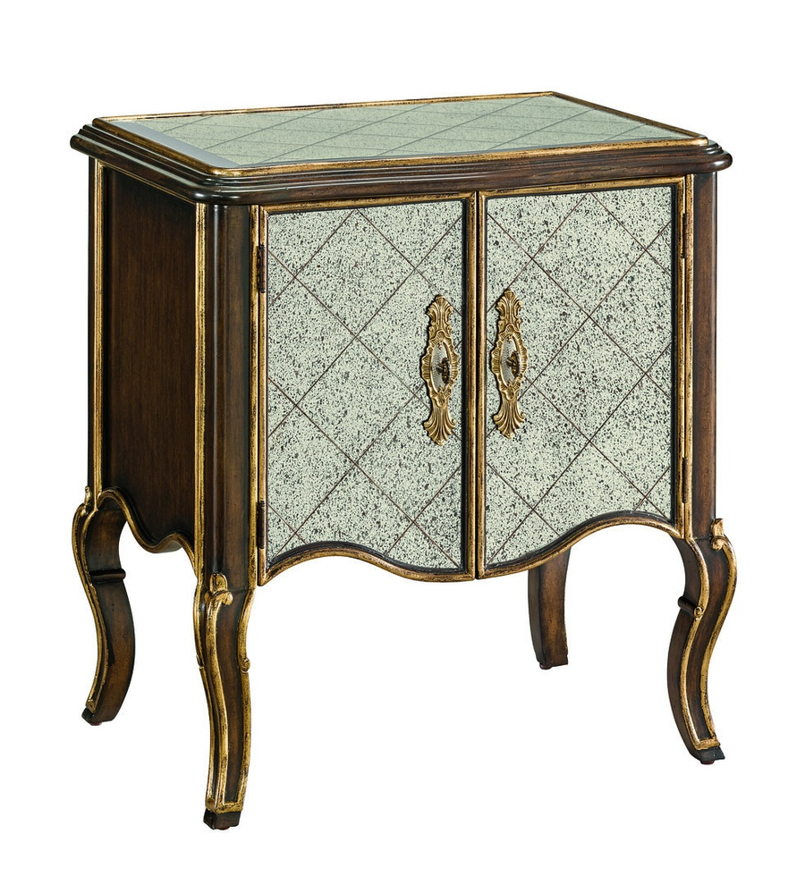 Wood Finish: AriaWood Finish Trim: Aged GoldTop and Front Panels:Regency GlassHardware Finish:Combination of Polished Brass and Polished Nickel