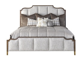 Wood Finish: CadenceMetal Finish on Ferrules: Antique BrassFrame Trim: Medium mottled nailhead spaced over Self Fabric tape