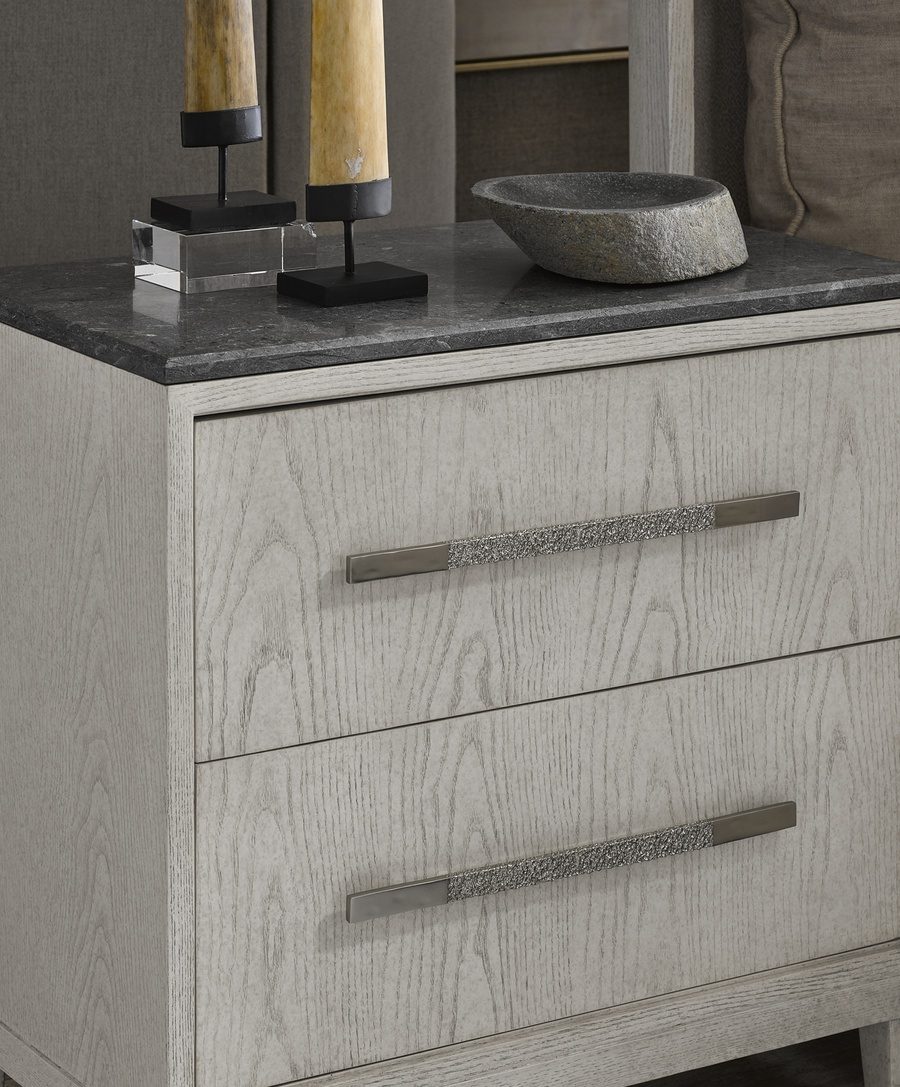 Wood Finish: EnsembleTop: Polished Greystone MarbleHardware: Combination Matte Nickel/Polished Nickel