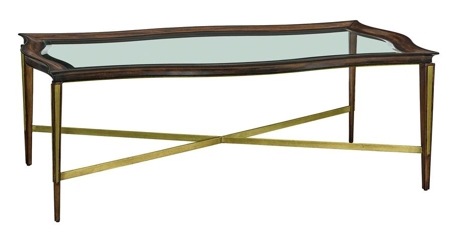Wood Finish: LyricMetal Finish on Legs: LyricMetal Finish Trim:Cashmere GoldTop: Inset Clear Glass
