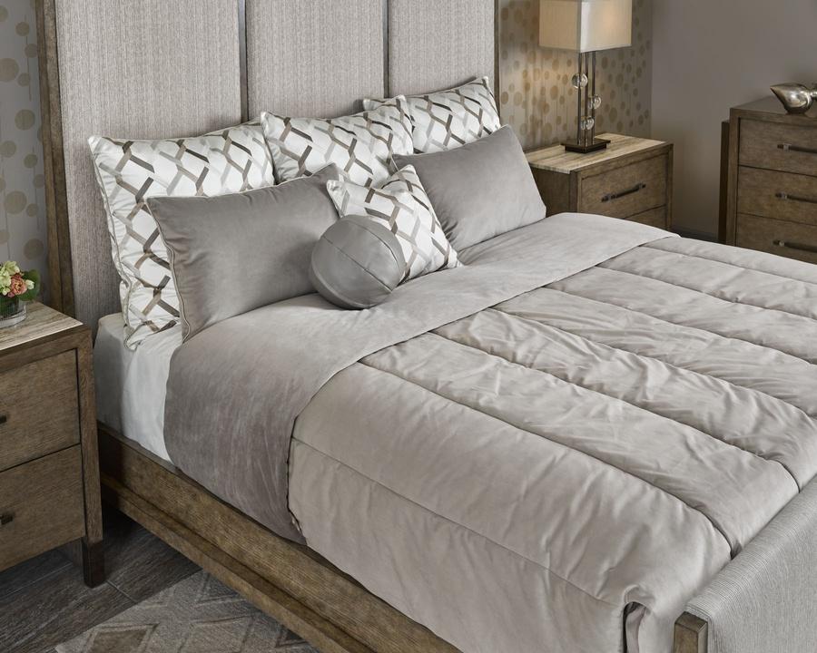 "Tempo Bedding Package Includes: Channeled Comforter with Split CornersFabric: Rio Linen6C0027Lining Fabric: Washington Taupe6C0048(3) 30"" sq. Knife Edge PillowsFabric:Bangkok Link6C0069Trim:Braid Sandstone 6C0077 (2) 20"" x 30"" Knife Edge PillowsFabric: Washington Taupe6C0048Trim: Braid Sandstone 6C0077 (1)18"" sq. Knife Edge PillowFabric:Bangkok Link6C0069Trim:Braid Sandstone 6C0077 (1) 10"" Ball PillowFabric: Green Bay Taupe6C0049"