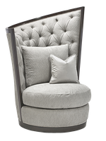Calypso Chair shown with: Boxed cushion seatButton tufted back Bombay finishMerengue nailhead frame trim