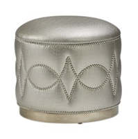 Carlton Ottoman shown with:Wood base in Cashmere Silver finishMerengue nailhead frame trim in Diamond Link pattern