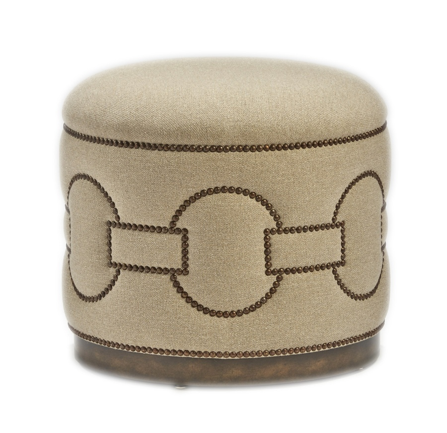 Carlton Ottoman shown with:Wood base in Dark Bay finishMottled nailhead frame trim in Square Link pattern