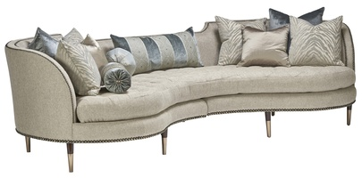 Chicago 2-Piece Sofa shown with: Boxed bench seatExposed wood legs in Contemporary Havana finish withSatin Brass ferrulesBronze Star nailhead frame trim
