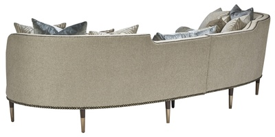 Chicago 2-Piece Sofa shown with:Boxed bench seatExposed wood legs in Contemporary Havana finish withSatin Brass ferrulesBronze Star nailhead frame trim