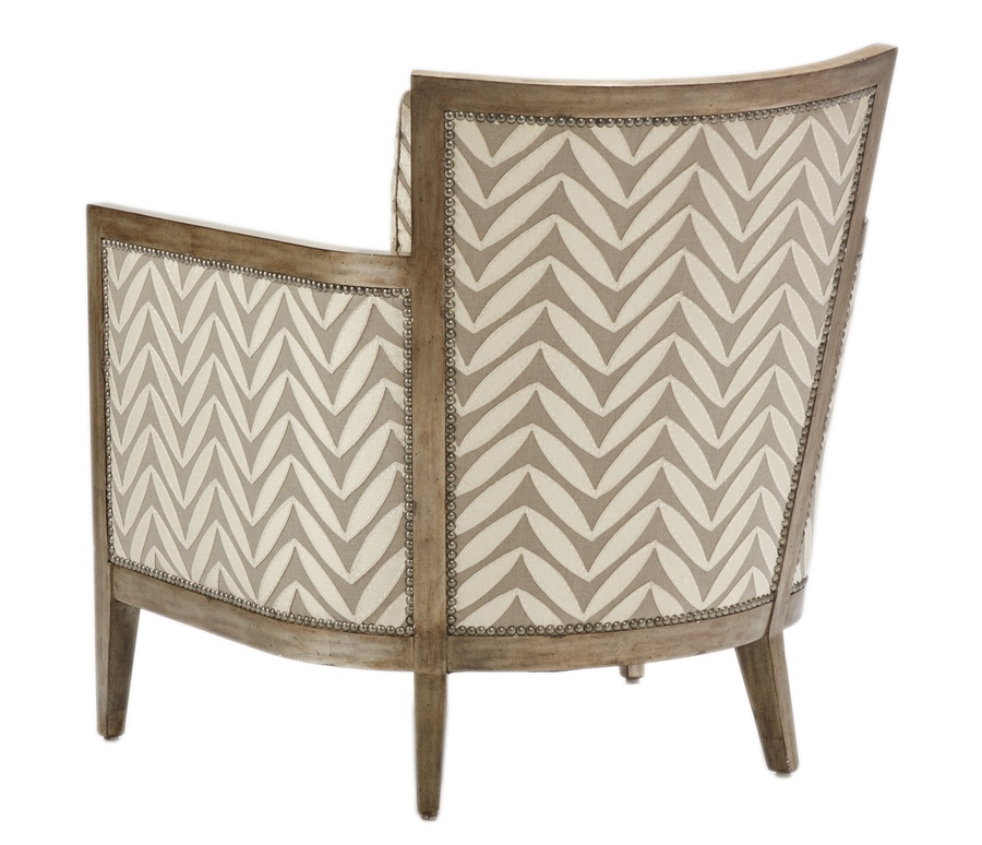 Calistoga Chair shown with:Boxed seat cushionSilver Cloud finishPewter nailhead frame trim