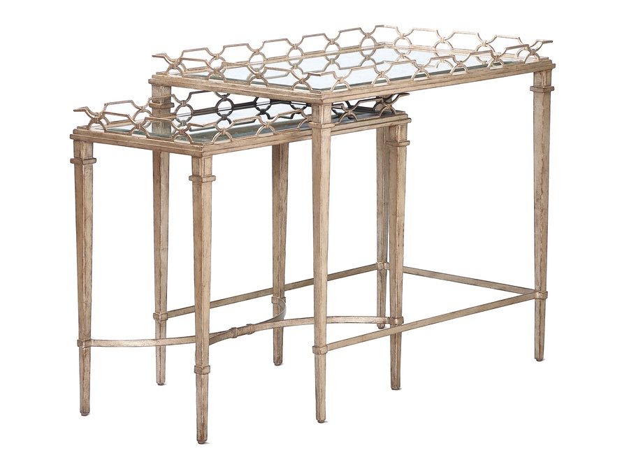 Cambria Nesting Tables shown with:Deco Silver finish Venetian Gold Leaf finish trim Clear glass top with beveled edge