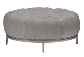 "Coronado Ottoman shown with:Diamond Tufted Tight SeatExposed Wood Legs in Cashmere Silver finishPewter nailhead frame trim40"" diameter"