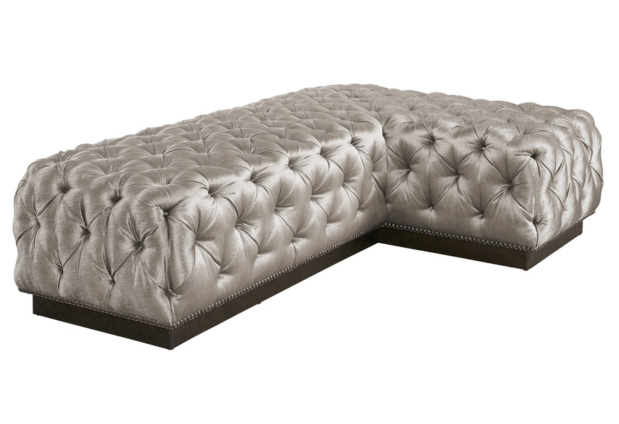 "Coronado Ottoman shown with:Semi-Attached seat with Box QuiltingPlinth Base in Cashmere Silver finish64"" x 40"""