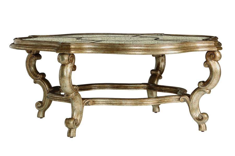 Cross Channel Cocktail Table shown with:Burnished Silver finishAntique mirror inset top