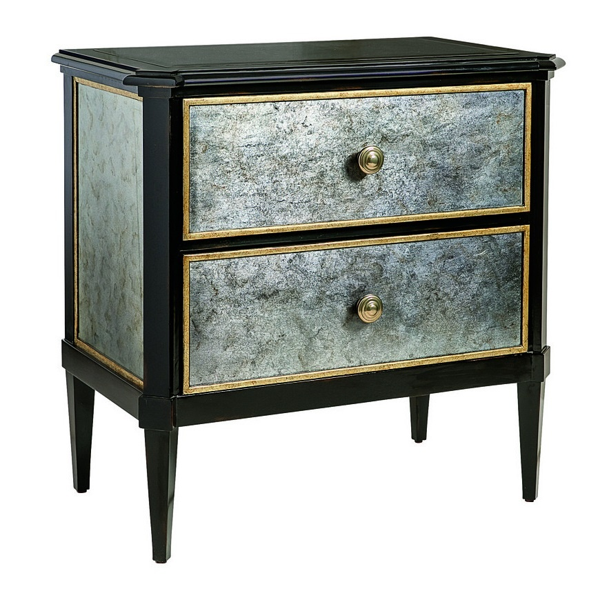 Cross Channel Nightstand shown with:Heirloom Brentwood finishAged Gold Leaf finish trimPolished Madeira Marble topAntique Brass hardware
