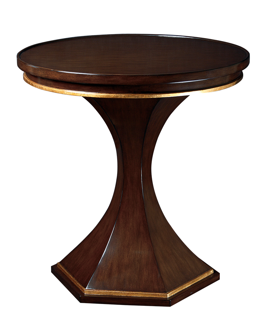 Crete Side Table shown with:Kona finishSpecialty Leaf finish trim