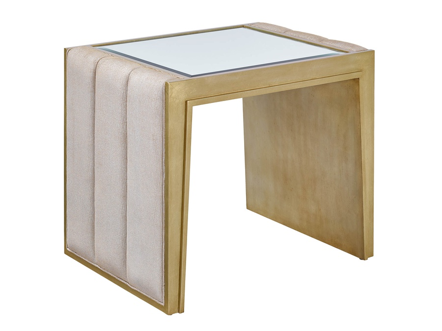 Cascade End Table shown with:Lattefinish with Burnished Silverfinish trimChanneled upholstery