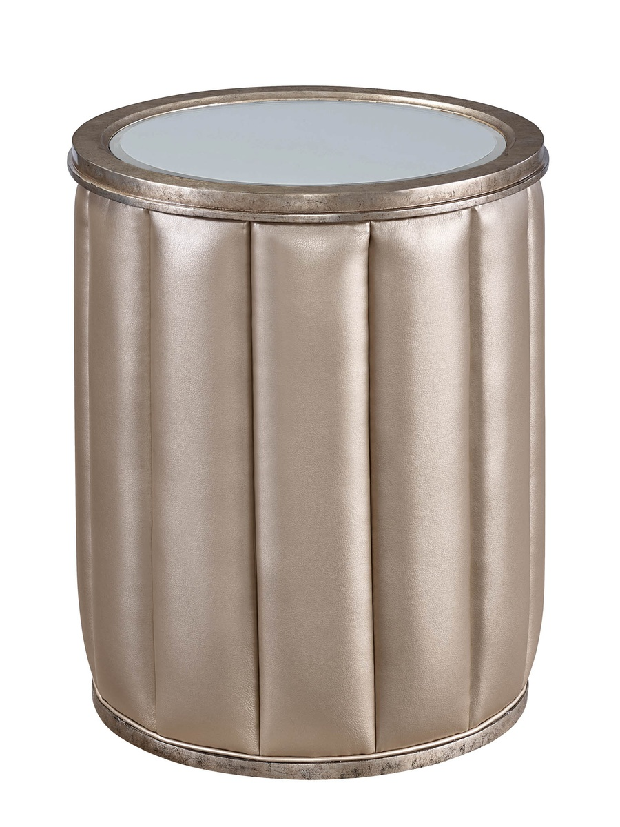 CascadeChairside Table shown with:Contemporary Briarfinish with Aged Silver finish trimAntiqueMirror topChanneled upholstery