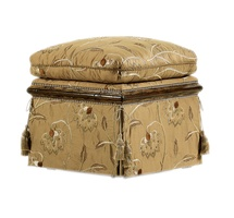 Caspian Ottoman shown with:Semi-attached seat cushionDeep skirtAccessory tassel tiesOld World Briar finishAged Gold Leaf finish trimSilver nailhead frame trim