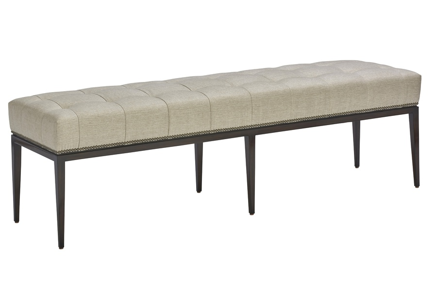 "Catalina Dining Bench shown with:Box quilted tight seatExposed wood legs in Bombay finishGunmetal nailhead frame trim20""D x 72""W"