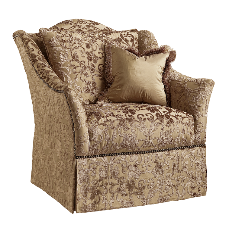 Courtney Chair shown with:Tight seatWaterfall skirt with built-in sides and backDecorative Mottled nailhead skirt detail