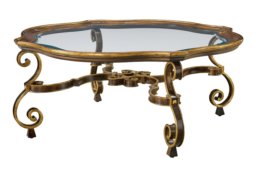 Wood Finish: AriaWood Finish Trim: Aged GoldMetalFinish:BronzeMetalFinish Trim: Aged GoldTop: Inset Clear Glass with Beveled Edge