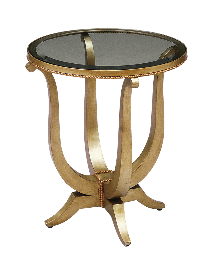 Deco Table shown with: Medici finishMetal leaf finish trimInset clear glass top with beveled edge
