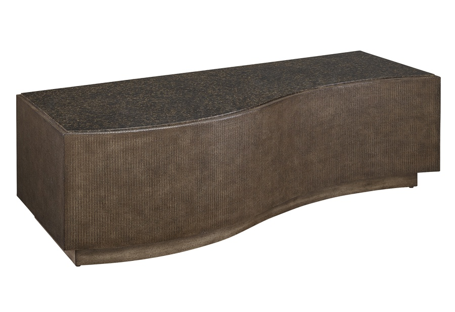 Eclipse Cocktail Table shown with:Base in Pumice finish with weave textureTop in Agate finishPlinth Platform in Pumice finish