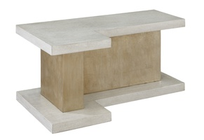 Eclipse Cocktail Table shown with:Base in Cashmere Silver finishTop in Malt finishPlinth Platform in Malt finish