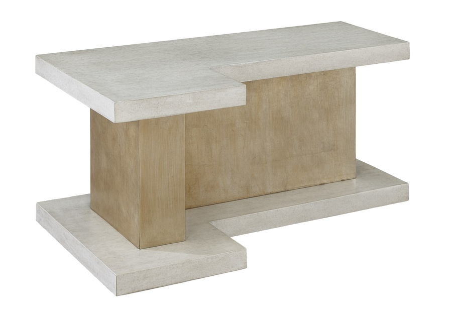 Eclipse Cocktail Table shown with:Base inCashmere SilverfinishTop inMaltfinishPlinth Platform inMaltfinish