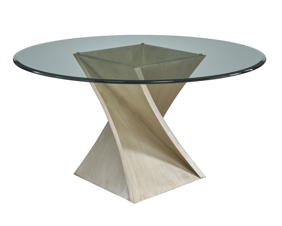 """Eclipse Dining Table shown with:Base inCashmere Silverfinish60"""" diameter glass top"""