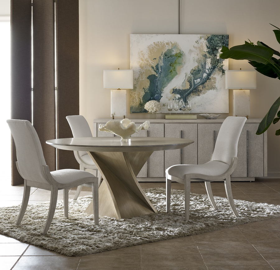 Eclipse Dining Table shown with:Base in Agate finishTop in Pumice finish