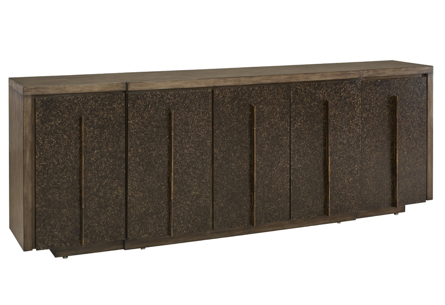 Eclipse Credenza shown with:Pumice finishAgate finish on the door facesBronzed Brass Hardware