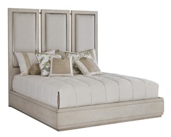 Eclipse Panel Bed shown with:Malt finishUpholstered Paneled HeadboardAntique Matte Nickel Hardware