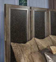 Eclipse Panel Bed shown with:Pumice finishHeadboard Inset panels with Agate finishAntique Matte Nickel Hardware