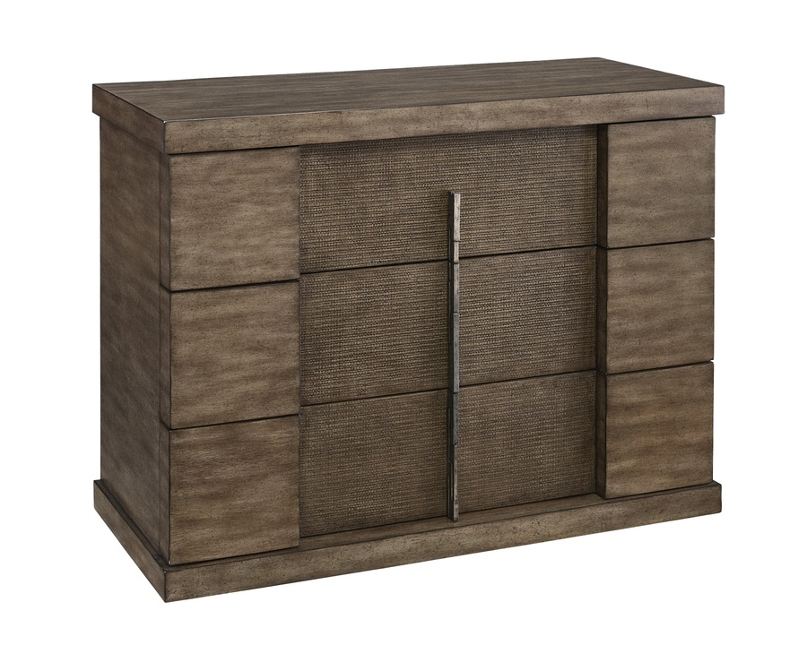 Eclipse Nightstand shown with:Pumice finishDrawer faces in Pumice finish with weave textureAntique Matte Nickel Hardware