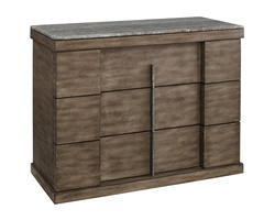 Eclipse Nightstand shown with:Pumice finishTop in Polished Titanium TravertineAntique Matte Nickel Hardware