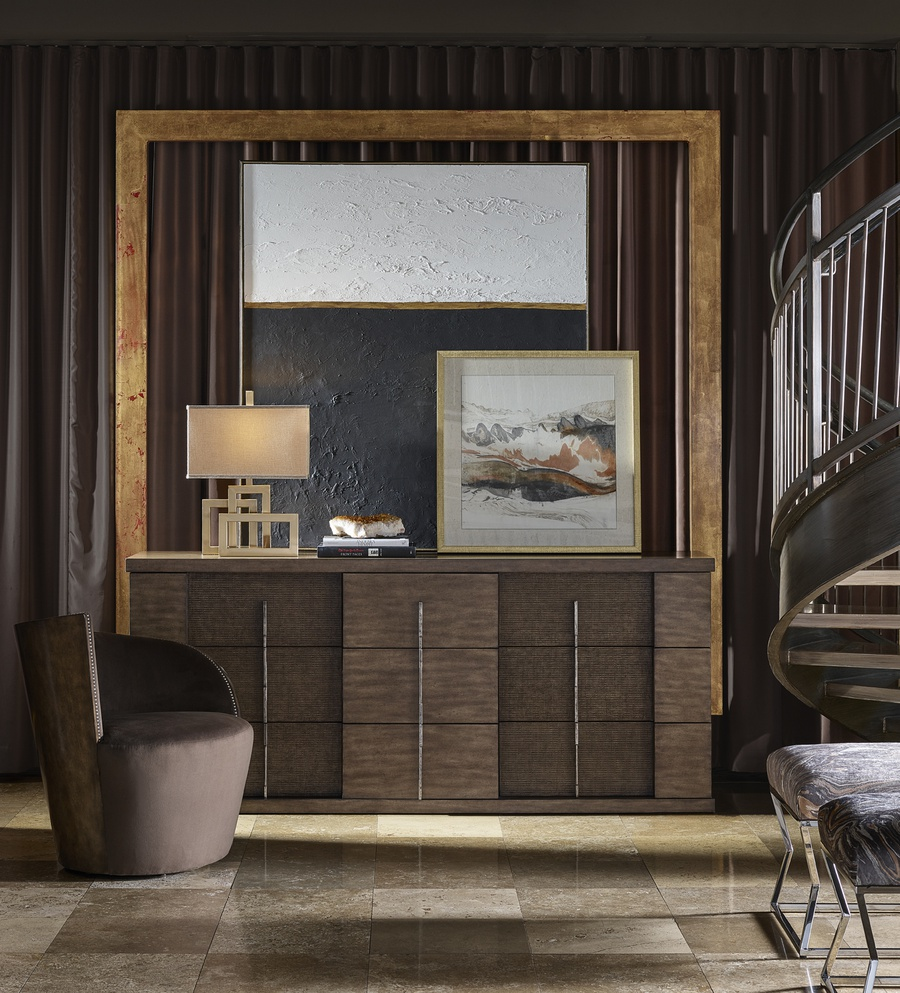 Eclipse Dresser shown with:Malt finishAntique Matte Nickel Hardware