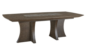 Eclipse Dining Table shown with:Agate finish on the basePumice finish on the topTop inset of Polished Titanium Travertine MarbleShown without leaf