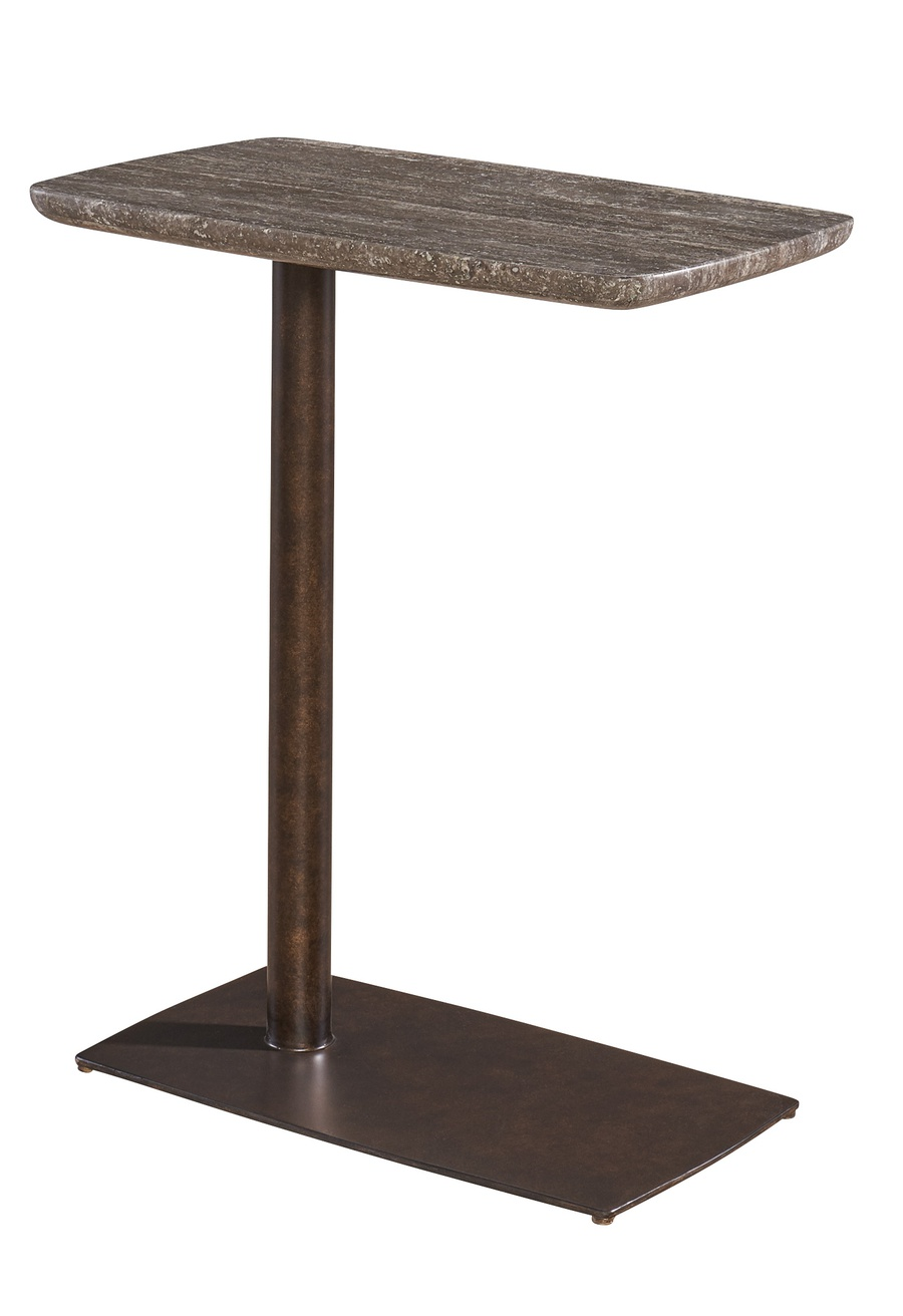 Eclipse ChairsideTable shown with:Bronze finishPolished Titanium Travertine Marble top