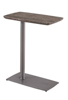Eclipse ChairsideTable shown with:Pewter finishPolished Titanium Travertine Marble top
