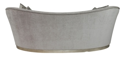 Elle Sofa shown with:Tight seatPlinth Base with Cashmere Silver finishPewter nailhead frame trim