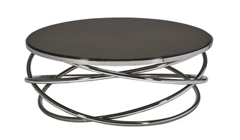 Equinox Cocktail Table shown with: Bombay finish on inset top Stainless Steel metal base and top rim