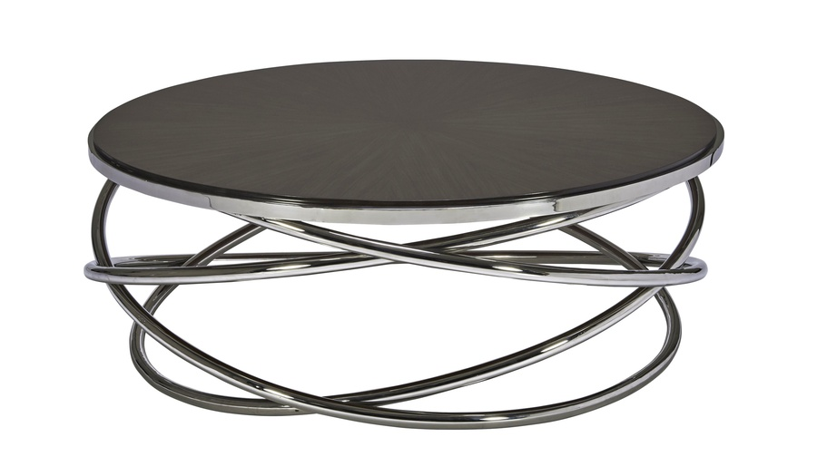 Equinox Cocktail Table shown with:Polished Crystal Stone Alabaster inset top Stainless Steel metal base and top rim