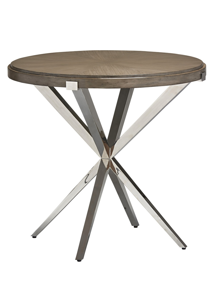 Equinox End Table shown with:Contemporary Havana finish on topSatin Brass metal legs